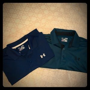 Lot of 2 men's Under Armour polo type shirts